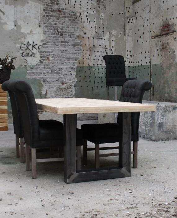 Eiken tafel met metalen U-poot (280x100 cm)