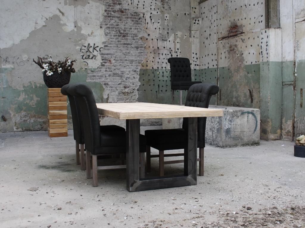 Eiken tafel met metalen U-poot (180x90 cm) - Meubilex