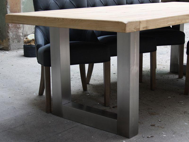 Keukentafel Prijs : Eiken tafel met RVS poot (200×100 cm) Meubilex