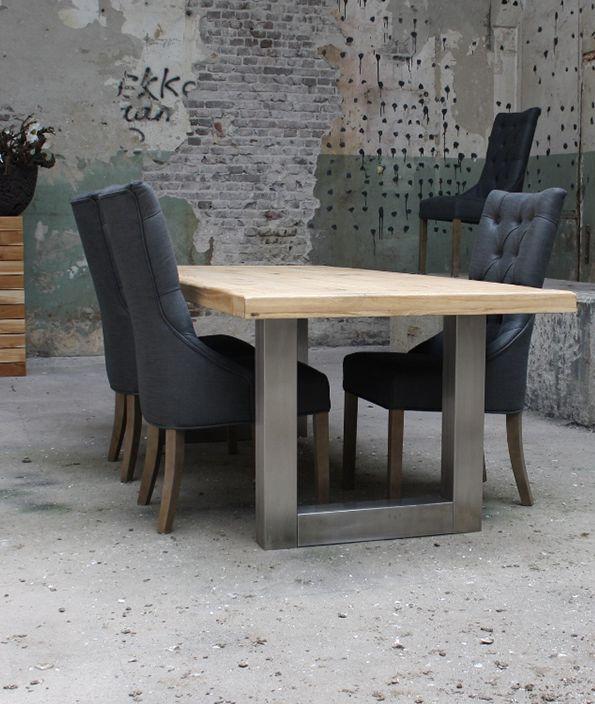 Eiken tafel met RVS poot (260x100cm)   Meubilex
