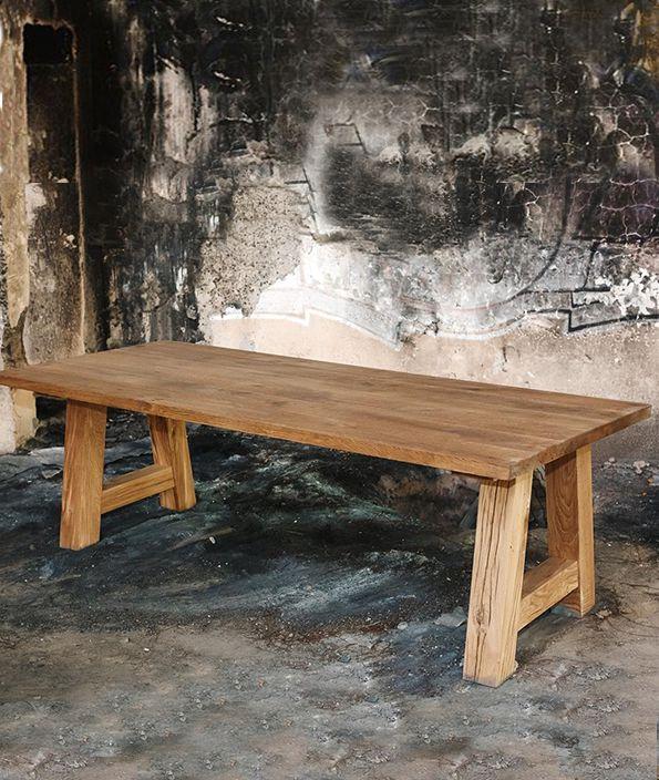 Eiken tafel met houten A-poot (240×100 cm)