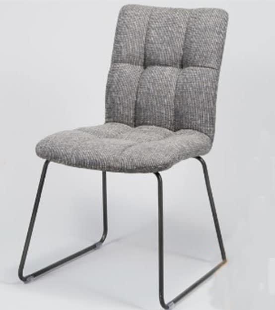 Stoel greg sledeframe zwart tweed