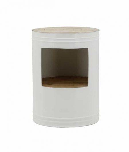 Bijzettafel Barrel wit - Meubilex