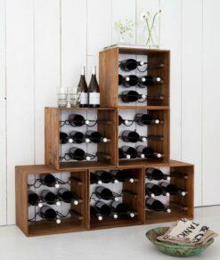 Teakhouten wijnrek stapelen