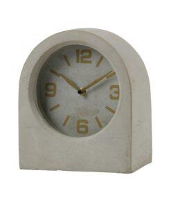 Een mooie beton grijze timeless klok met zijkant aanzicht