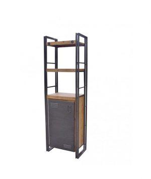 Industriële boekenkast met 1 deur