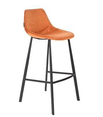 Barkruk Franky velvet oranje Dutch Bone