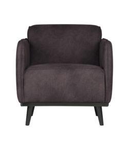 Statement fauteuil met arm eco leer grijs 2
