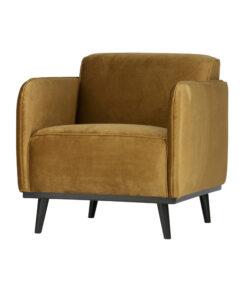Statement fauteuil met arm fluweel honing geel