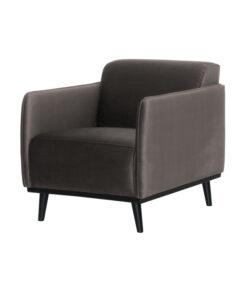 Statement fauteuil met arm fluweel taupe