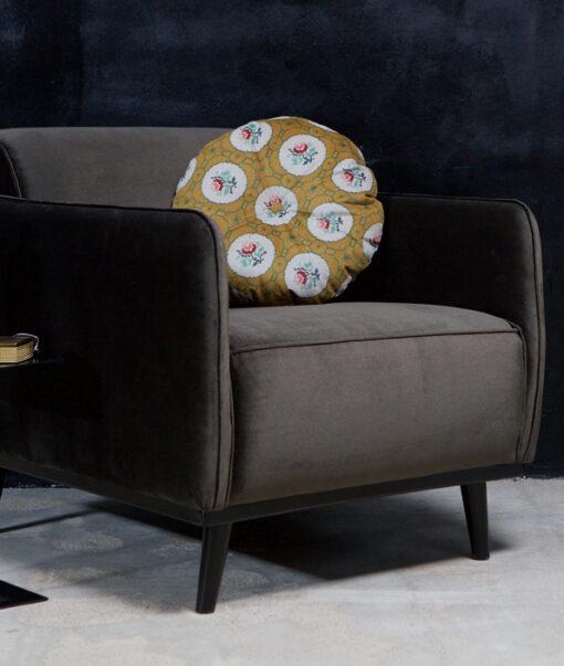 Statement fauteuil met arm fluweel taupe 3