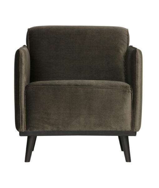Statement fauteuil met arm fluweel warm groen
