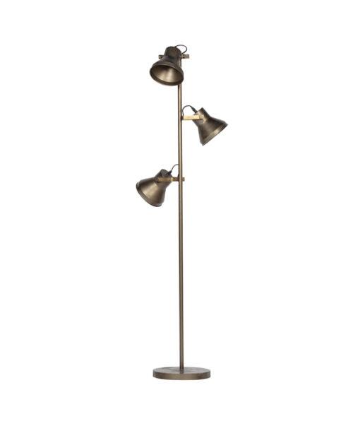 Triplet staande lamp metaal antique brass