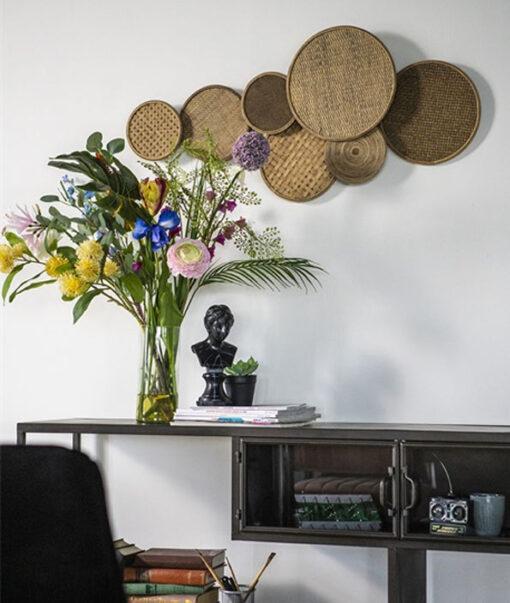 Wanddecoratie round en round naturel sfeerfoto