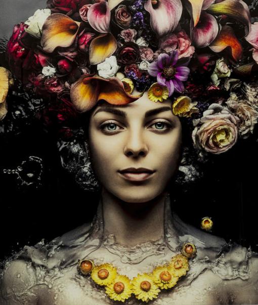 Glasschilderij Flower Art Lady 1