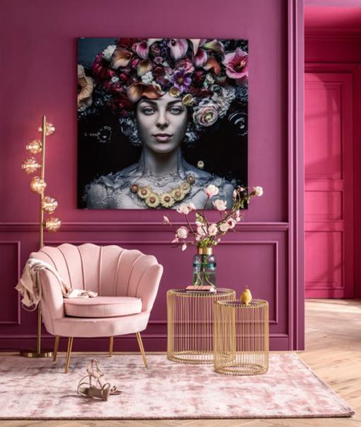 Glasschilderij Flower Art Lady 3