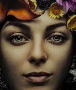 Glasschilderij Flower Art Lady 4