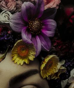 Glasschilderij Flower Art Lady 5